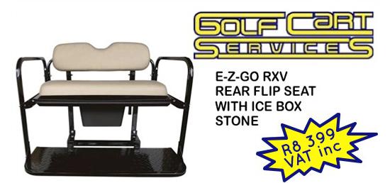 E-Z-GO RXV Rear Flip Seat Kit with Ice Box Stone
